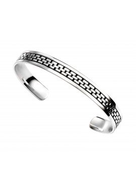 Mens oxidised square link pattern torque bangle