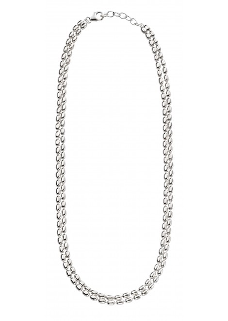 Double layer oval bead necklace