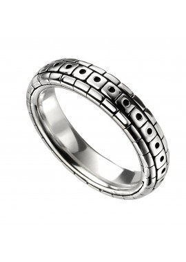 Oxidised pattern ring mens