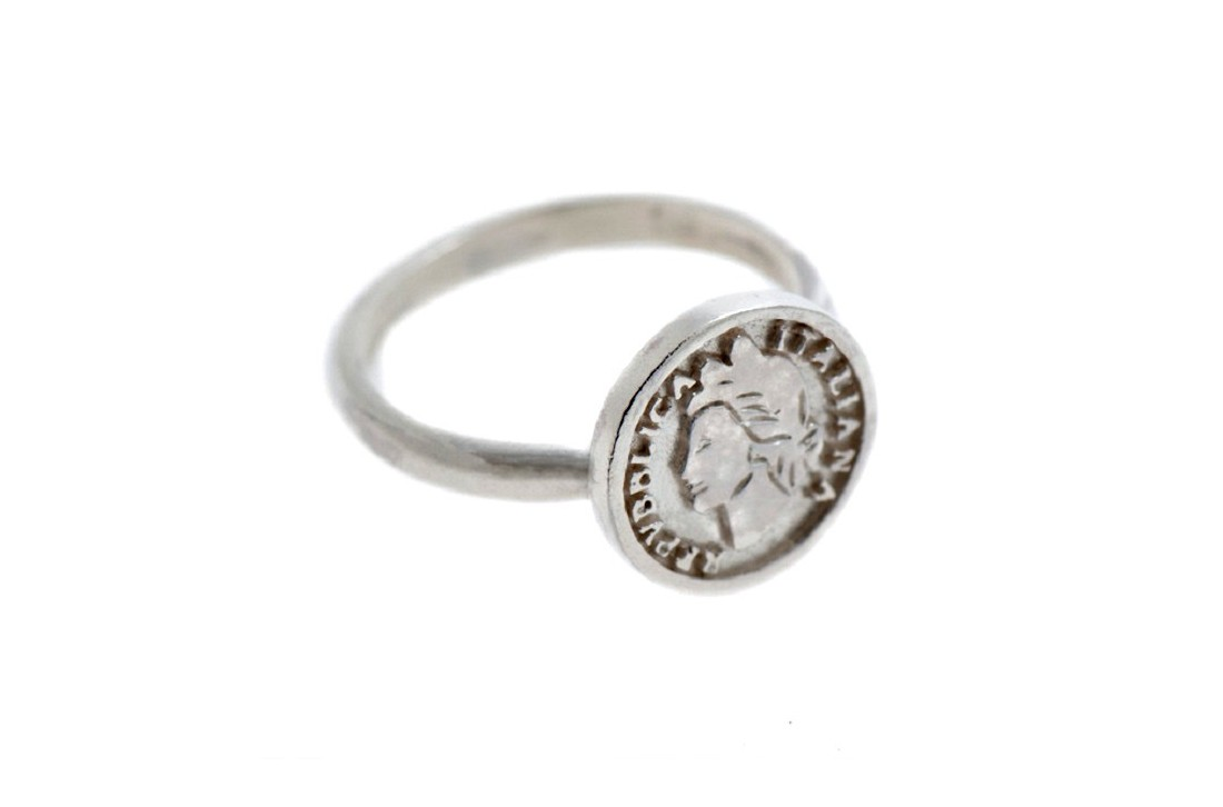 Coin Ring argento Bianco